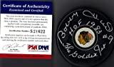 "PSA/DNA Bobby Hull #9 ""HOF 1983"" & ""The Golden Jet"" Autographed Signed Chicago Blackhawks Puck"