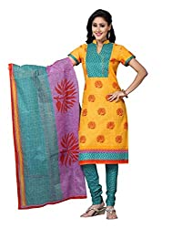 DARPAN TEXTILES Ethnicwear Women's DressMaterial(Yellow_Free Size)