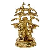 Kapasi Handicrafts Radha Krishna Standing Under The Tree Brass Idol (4.5 X 4.75 X 6 Inches)