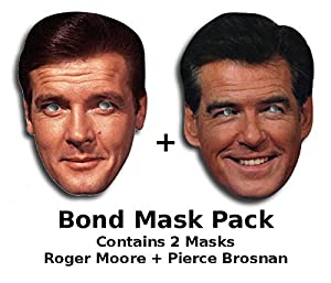 James Bond mask set - contains of Roger Moore and Pierce Brosnan