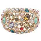 E7147 Luxurious Alloy & Rhinestone & Crystal Bangle Bracelet Multi-color by Preciastore