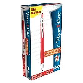 Paper Mate Gel S0903230 - Bolígrafo roller de gel (0.7 mm, línea de 0.5 mm, 12 unidades), color rojo