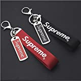 Supreme Double Side Key Chain- Fashion Design Neck Strap Keychain Holder Ring Style for Keys Phones Bags Accessories (Black and Red) (Color: Black and Red)