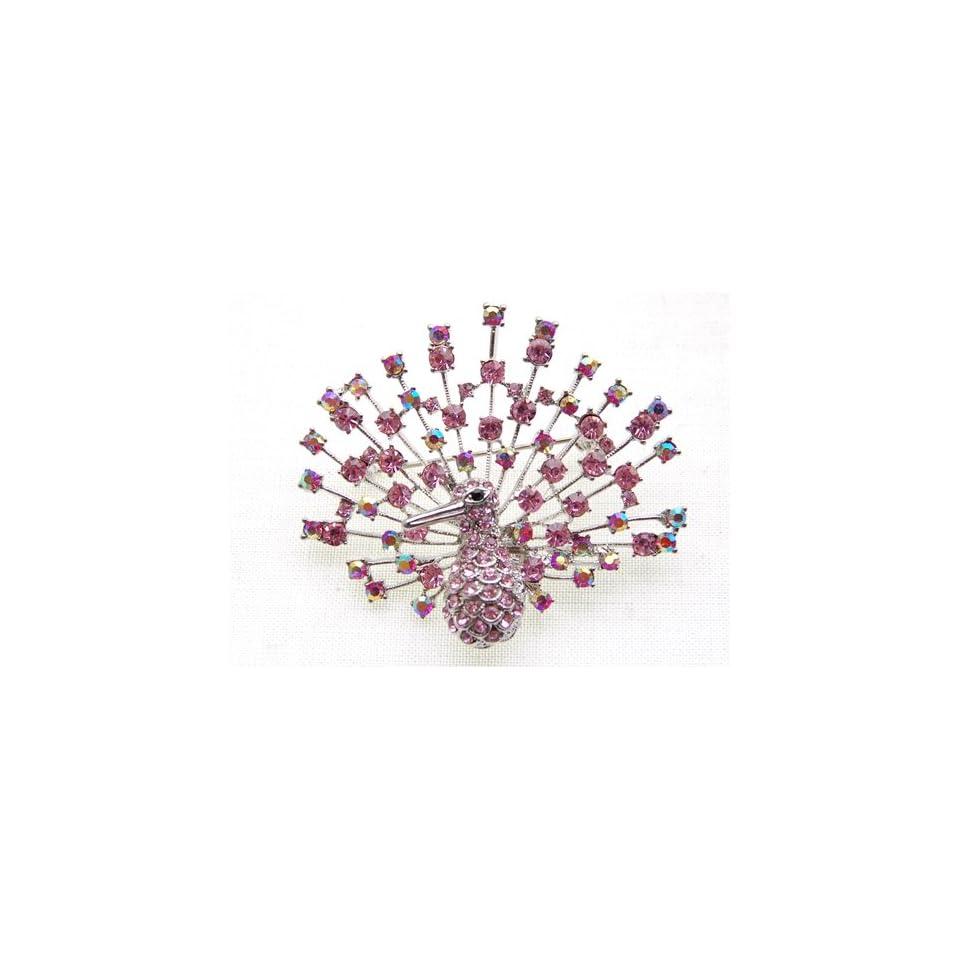 Cavorting Aurora Borealis Pink Rose Crystal Rhinestone Peacock Bird Pin Brooch