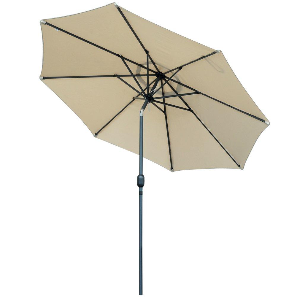 Snail Aluminum 9 foot WindProof Push Button Tilt Outdoor Patio Umbrella Pool Deck Garden Table Shade Umbrellas, Beige