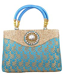 Freddys Blue Coloured Silk Ethnic Handbag With Stone Work