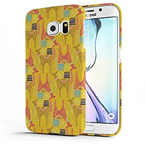 Koveru Designer Printed Protective Snap-On Durable Plastic Back Shell Case Cover for Samsung Galaxy S6 Edge - Horses Abstract