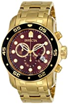 Invicta Mens Pro Diver Scuba Swiss Chronograph Brown Dial 18k Gold Plated Bracelet Watch 80065