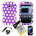 4 items Combo: ITUFFY(TM) LCD Screen Protector Film + Mini Stylus Pen + Case Opener + Purple White Polka Dots Design Rubberized Hard Plastic + Soft Rubber TPU Skin Dual Layer Tough Hybrid Case for Samsung Galaxy Centura S738C / Samsung Galaxy Discover S730G (Straight Talk / Net10/ TracFone)