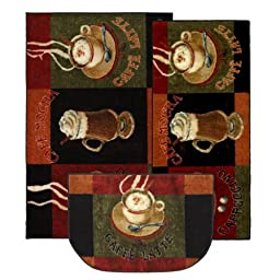 Mohawk Home New Wave Caffe Latte Primary Printed Rug,  Set,  Brown