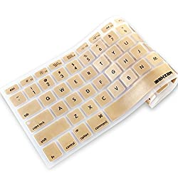 iBenzer - Macaron Serie Gold Keyboard Cover Silicone Rubber Skin for Macbook Pro 13'' 15'' 17'' (with or without Retina Display) Macbook Air 13'' and iMac - Gold MKC01GD