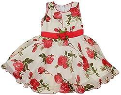 Yashasvi Girls' Dress (5-6 Years, Red and White)