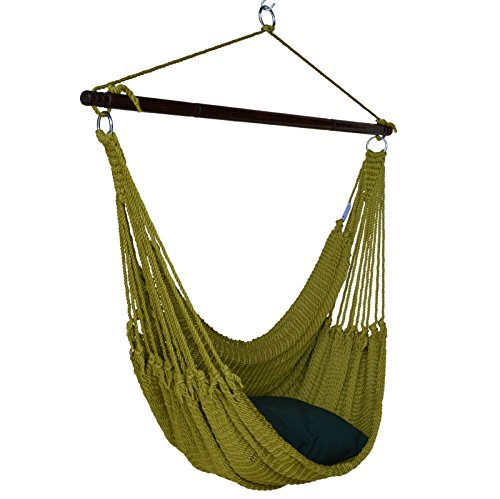 Jumbo Caribbean Hammock Chair with Footrest - 55 inch - Soft-Spun Polyester - Olive