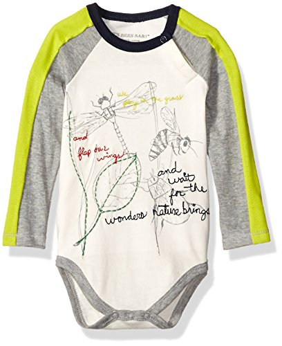 Burt's Bees Baby Boys' Organic Long Sleeve Snap Raglan Bodysuit, Nature Wonders, 12 Months