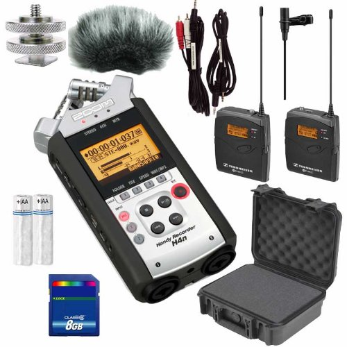 Zoom H4N Portable Recorder Bundle W Sennheiser Wireless Mics, Cables And Wind Muff Bundle