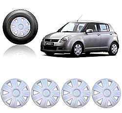 Premium Quality Car Full Caps Silver 14inches Wheel Cover For - Maruti Suzuki Swift Old