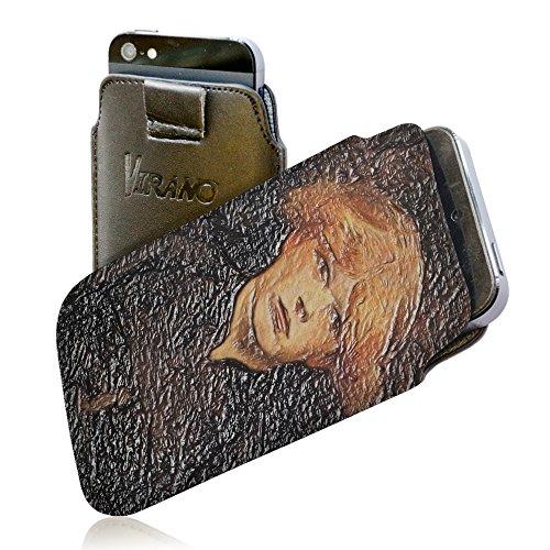 Toulouse Lautrec - Carmen, Pull Tab Texture Portafoglio Custodia Protettiva in PU Pelle Wallet Case Cover Shell Borsa Copertura Nero con Design Strutturato per Huawei P8.