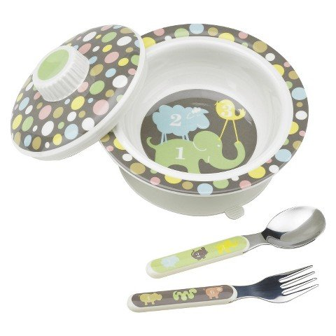 SugarBooger Covered Suction Bowl and Utensil Set - Numbers - 1