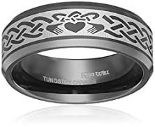 buy King Will 8Mm Tungsten Carbide Ring Black Claddagh Wedding Band Irish Engagement Dome Surface(11)