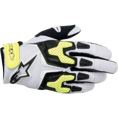 Alpinestars Mens SMX-3 Air Motorcycle Gloves Black/White/Yellow/Flourescent Yellow XXL 2XL