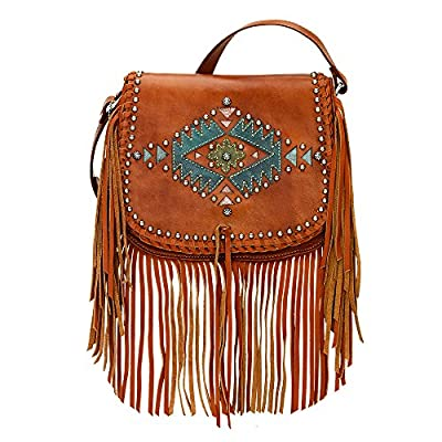 American West Pueblo Moon Collection Fringe Crossbody Flap Bag