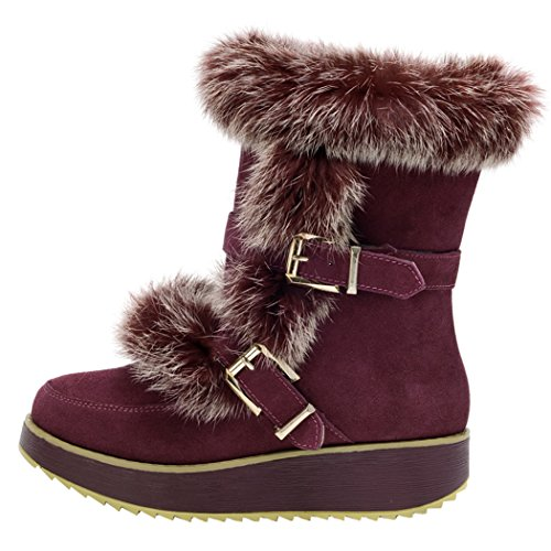 Milanao Women Winter Leather Thick Tpr Soles Leisure Mid Heel Snow Boots(8 B(M)Us,Red Wine)