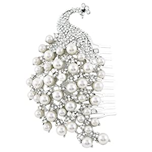 Bridal Silver-Tone Simulated Pearl Peacock Clear Austrian Crystal Hair Comb A13487-1