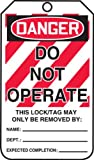 "Accuform Signs MLT400CTP Lockout Tag, Legend ""DANGER DO NOT OPERATE"", 5.75"" Length x 3.25"" Width x 0.010"" Thickness, PF-Cardstock, Red/ Black on White (Pack of 25)"
