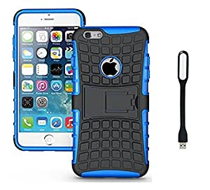 Micomy Kick stand Shock Proof Case for Apple iPhone 4G Blue With Free Mini USB LED Light Lamp (Multi Colour)