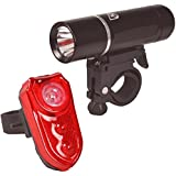 SafeCycler LED Bike Lights - Batteries Included - Bright Headlight and Rear Bicycle Light Set for Your Safety - Flashing Light Mode Alerts Motorists - Rugged Aluminum Construction - Lifetime Warranty