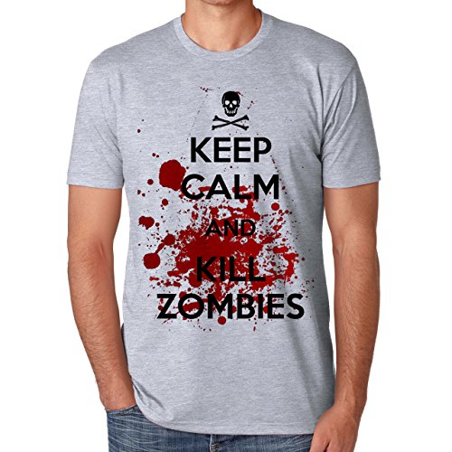 Keep Calm And Kill Zombies-Maglietta da uomo grigio XXL