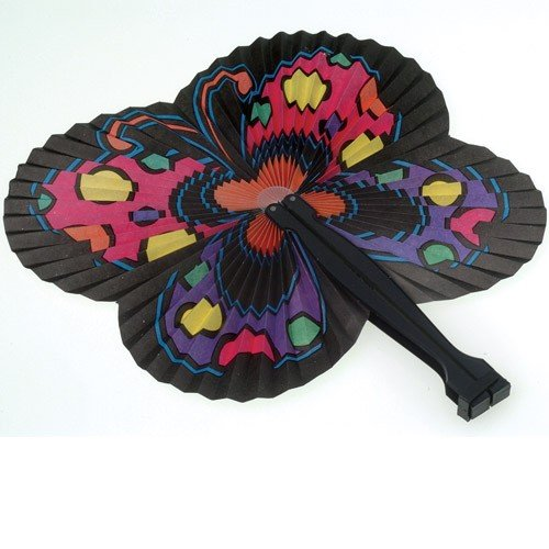 Lot Of 12 Japanese Inspired Butterfly Theme Paper Folding Fans - 1