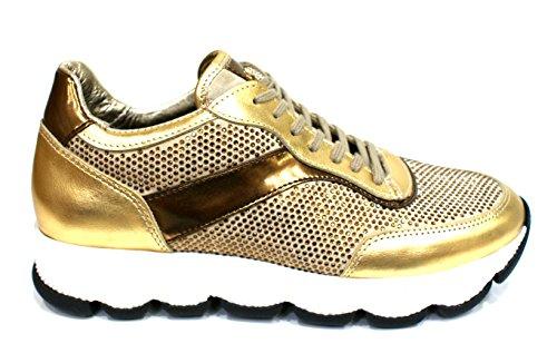 Roberto Botticelli Limited Sneaker Donna Strass Rialzo Cm 4 Pelle Oro_36