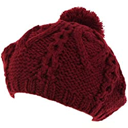 Handknit Chunky Knit Winter Beret Knit Tam Hat Wine