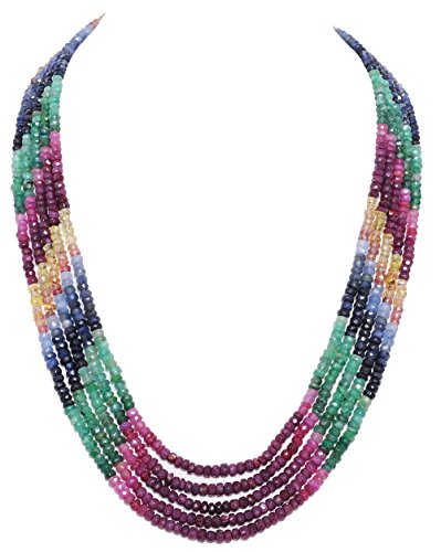 5 Rows Emerald Ruby Sapphire Gemstone Faceted Bead Necklace