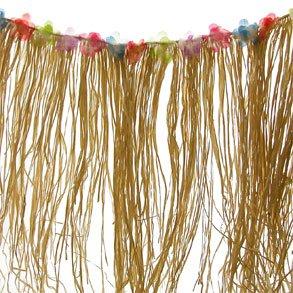 Natural Raffia Flowered Table Skirt