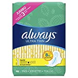 Always Ultra Thin, Size 1, Regular Pads With Wings, Unscented 46 Count