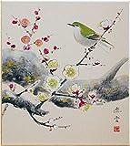 奥田流雲 『梅に鶯』 2 色紙絵