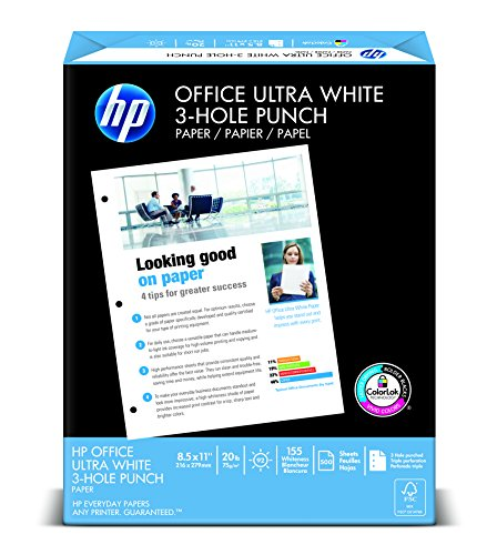 HP Office Ultra White, 20lb, 8 1/2 x 11, 3 Hole, 96 Bright, 500 Sheets/1 Ream (113102)