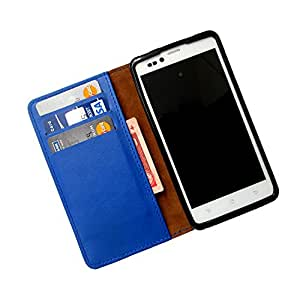 i-KitPit PU Leather Wallet Flip Case For Micromax Doodle 3 A102 (BLUE)