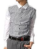 (リピード) REPIDO ストライプシャツ 国産 日本製 メンズ 長袖シャツ ホワイト(切替) Lサイズ