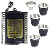 1 Set Stitched Leather Jim Beam Stainless Steel Hip Flask Gift Set Box - 9 oz STAINLESS STEEL Drinks Hip Wine Flask +Screw Cap + Cups/ 4 Shot Glasses + Funnel