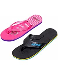 IndiWeaves Step Care Rubber Printed Footwear (Set Of 2 )- 1 For Boy And 1 For Girl-Pink/Black