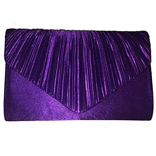 Accessorize-me Pleated Ribbed Satin Clutch Bag Handbag With Shoulder Chain A41021