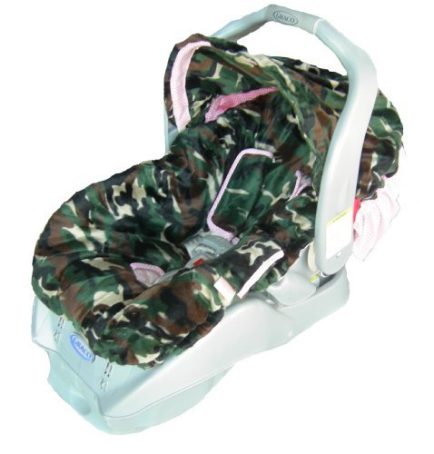 Patricia Ann Designs Camo Infant Carseat Cover - Pink and White Gingham