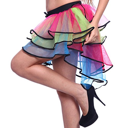 AWEIDS 1980s 80s Layered Tiered Neon Flo UV Rainbow Burlesque Bustle Tutu Skirt - One Standard Size