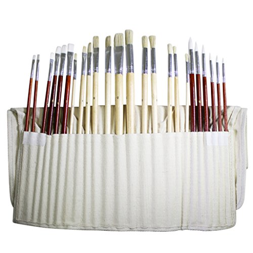 Set di 24 pennelli per pittura arte per olio, acrilico colori ad acqua in custodia di tela di Curtzy TM