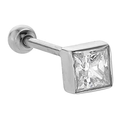 FreshTrends 4mm Cubic Zirconia (April) Princess Cut 14KT White Gold Cartilage Stud Earring