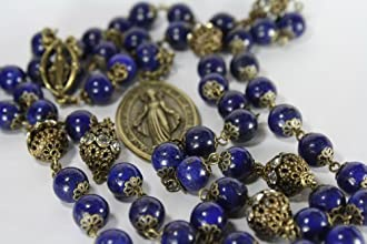 Miraculous Seven Sorrows Lapis and Bronze Rosary Chaplet 7 Decade of 7 Beads Made in Oklahoma