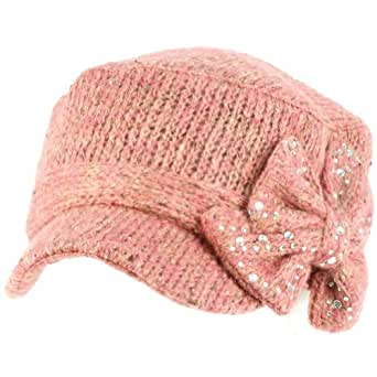 Elastafit Winter Ribbon Bow Crystals Knit Cadet Military Castro Hat Cap Pink